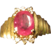 Ruby & Diamonds Ring in 14K Gold
