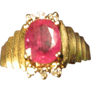 SALE Ruby & Diamonds Ring in 14K Gold
