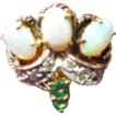 Opal, Emerald and Diamond Ring set in 14 KT Gold