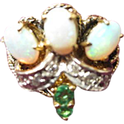 SALE Opal, Emerald and Diamond Ring set in 14 KT Gold