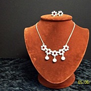 SALE Nemo Necklace and Earrings with white and red rhinestones