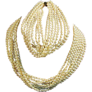 Cultured Pearl Necklace & Bracelet w/ 14 KT gold clasps