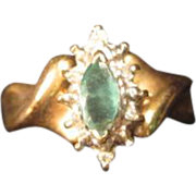 Emerald and Diamond Ring in 10K yellow Gold