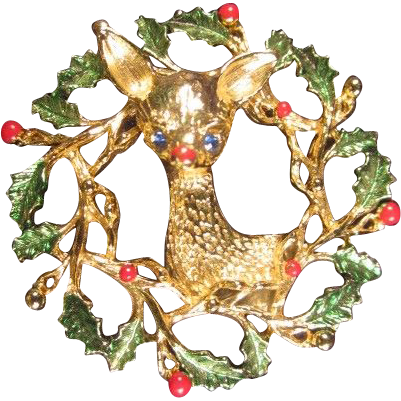 Gerry's Wreath and Reindeer Pin