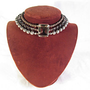 SALE Stephen Dweck Smokey Quarts Hematite & Sterling Choker