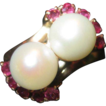 Pearl and Ruby Ring in 18K Gold