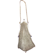 SALE Mesh Purse with Cathedral Frame Silver tone