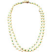 Hobe Simulated Pearl and Green bead necklace with rhinestone 1965