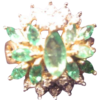Emerald & Diamond Cluster Ring in 10K Gold