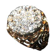 10 K Gold Men's Ring with 19 Diamonds