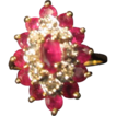 Rubies and Diamonds Cluster Ring in 10KT Gold