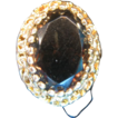 Oval Smokey Quartz Ring set in 14 K Gold marked ROMANY