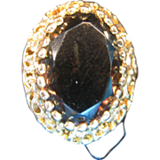 SALE Oval Smokey Quartz Ring set in 14 K Gold marked ROMANY