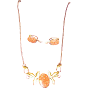 Van Dell Goldstone Necklace and Earrings