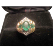 Emeralds and Diamonds Cluster Ring 14K Gold