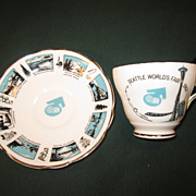 SALE 1962 World's Fair Tea Cup and Saucer, Seattle