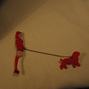 Lady walking Dog Pin
