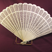 Ladies Oriental Carved Fan 1905