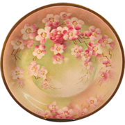 Limoges Cherry Blossom Charger, Signed - Barbot