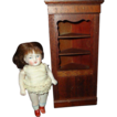 Vintage Wood Miniature Corner Cabinet For Doll House Fancy