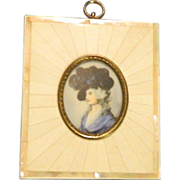 Antique Miniature Painting In Ivory Frame Portrait Sarah Siddons Doll House