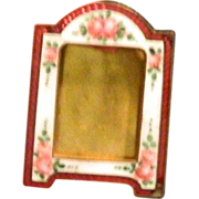 SALE Antique Miniature Doll House Bronze Enamel Frame W/ Flowers