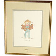 SALE Vintage P. Buckley Moss 1987 Signed on Picture and Glass Susannah Girl With Teddy Bears
