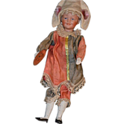 Antique Bisque Doll Mechanical Jester Polychinelle Solid Dome