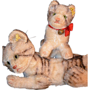 Old Steiff Kitten Tiger Set Mohair Jointed Tabby Adorable Stuffed Animal