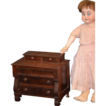 Antique Empire Miniature Wood Chest For Bisque Doll