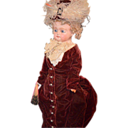 Antique Wax Over Papier Mache Doll Fab Clothes Bulging Glass Eyes