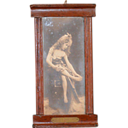 Antique Framed Miniature Photograph GEFUHL Girl Dollhouse