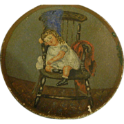 Antique Miniature Doll Child Painting Wonderful