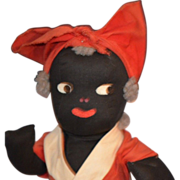 OLD Black Cloth Doll Rag Unusual