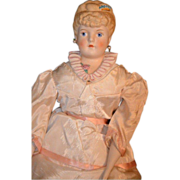Old Emma Clear Parian Doll Unusual Hair and SHoulder Plate