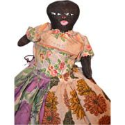 Old Unusual Black CLoth Doll Folk Art