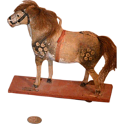 Antique Papier Mache Pull Toy Horse For Bisque Doll