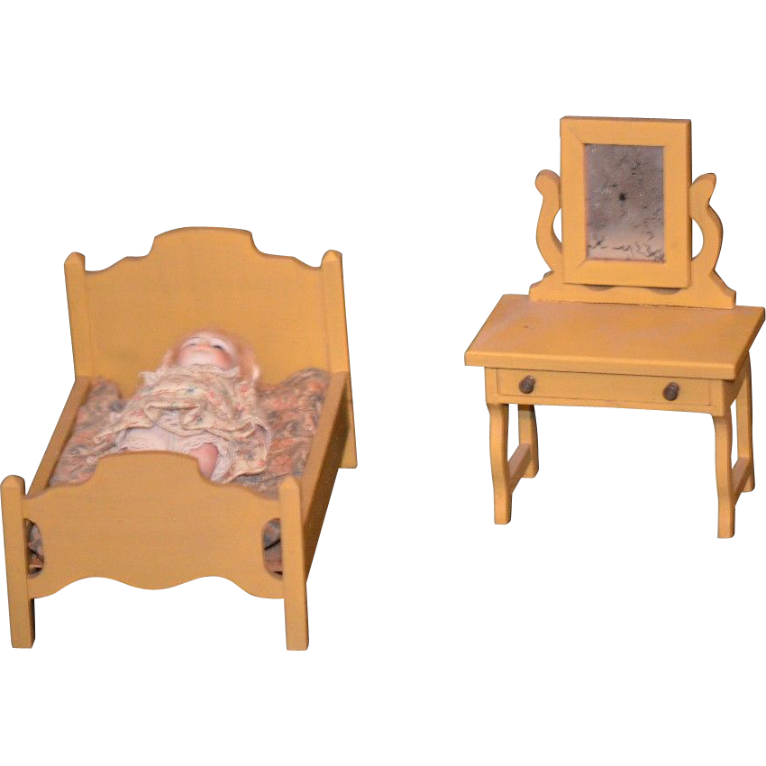 old miniature doll dollhouse wood furniture bedroom set from