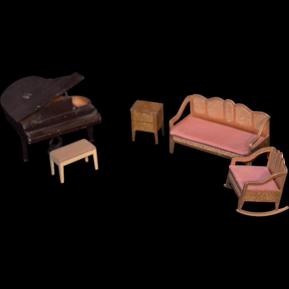 Old Metal Tootsie Toy Lot Miniature Dollhouse Piano Sofa