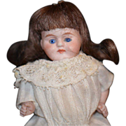 Antique Doll All Bisque Miniature Glass Eye Dollhouse Chubby Cheeks Kestner