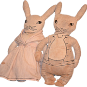 Old Cloth Peter Rabbit Doll and Mrs. Elliot Wonderful Pair