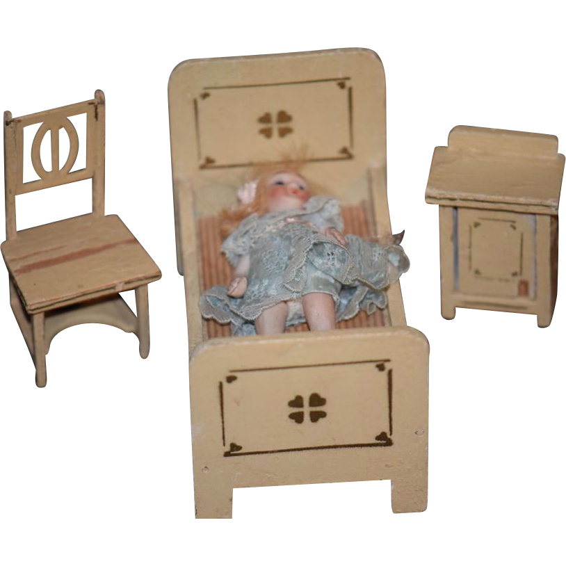 old doll miniature dollhouse furniture set bedroom wood cottage from