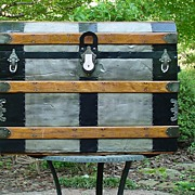 Antique Flat Top Trunk  w/ Embossed Tin & a Beveled Lid   Great Restoration!