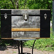 Restored Antique Flat Top Trunk w/Embossed Tin & Original Interior!
