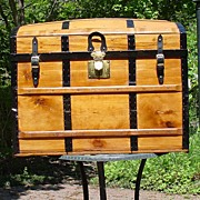 Large Humpback Stagecoach Style Antique Trunk
