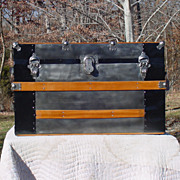 Medium Size Restored Antique Flat Top Stagecoach Trunk Patented 1890 Very Nice Trunk
