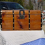 Restored Antique Flat Top Stagecoach Trunk