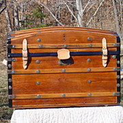 Antique Humpback Stagecoach Trunk With A  Splendid Restoration