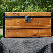 Restored Antique Flat Top Stagecoach Trunk  Patent Date 1869