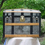 Antique Humpback Embossed Tin Trunk Great Restoration!